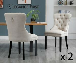 2 X  Beige French Provincial Fabric Dining Chairs Upholstered Tufted Back Studs