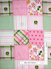 John Deere Fabric Floral Madras Patch Tractors Pink Green White CP38548 ~ Yard