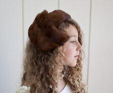 1950s Vintage Ladies Brown Fox Fur Fascinator Hat w/Netting & Headband  One Size