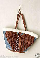NEW Anthropologie En Shalla Demin Suede Fringe Faux Fur Embellished Tote Bag