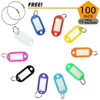 100pack Tough Plastic Key Tags with Split Ring Label Window, Coded ID Tags