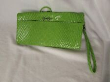 Jessica Simpson Green Clutch Snake Skin Pattern Purse Handbag