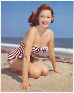 Fine Original 1960s Pin Up Litho Photograph Smiling Redhead Bathing Beauty