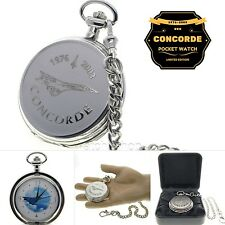 CONCORDE Memorial Silver Pocket Watch Men Gift Large Brass Case + Fob Chain C63