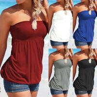 Women Off Shoulder Tube Tops Blouse Strapless Bandeau Shirts Summer T-Shirt Tee