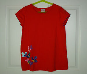 Girl's Hanna Andersson Short Sleeve Knit Tunic Bird Screenprint Red Size 150/12