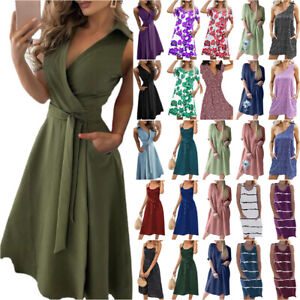 Womens Sexy Plain Summer Ladies Sundress Beach Holiday Party Fit Slim Dresses