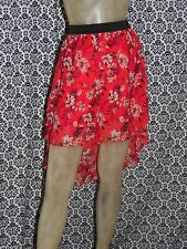 Charlotte Russe Red Floral Elastic Band Mullet Skirt Womens XSMALL USED