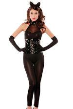 Black Vinyl Waist Cincher Naughty Kitty Catwoman Halloween Costume 8668