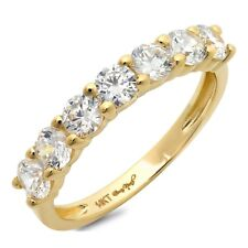 1.4ct Round Cut Stackable Bridal Wedding Petite Anniversary Band 14k Yellow Gold