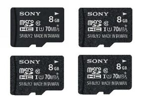4X Sony 8GB Class 10 UHS1 Micro SDHC up to 70MB/s Memory Card SR8UY2A/TQ