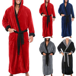 UK Mens Comfy Soft Hoodies Hooded Lounge Robe Extra Warm Long Dressing Gown Hot,