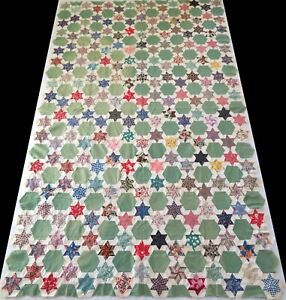 Antique 1930's Hand Stitched Green Feed Sack Star Quilt Top 87x54