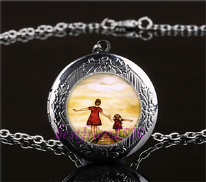 Mother and Daughter Cabochon Glass Gun Black Locket Pendant Necklace