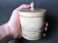 Pot à tabac en corne horn tobacco jar art populaire tournage XIXth Century
