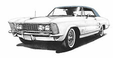 1963 (63) White Buick Riviera Blue Vinyl Top signed 11x17 drawing/picture/print