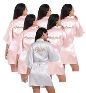 Personalized Robes Maid of Honor Mother of the Bride Bridesmaid Proposal Gifts Wedding Gifts Joy Mabelle Womens Satin Short Kimono Robe for Bride Mother of the Groom Bridesmaids