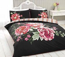 Seraphina Floral Reversible Print Duvet  Cover Bedding Set Double Size  Black