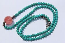 Turquoise Pink Quartz Sterling Silver Beads Solid 14 k White Gold Clasp Necklace