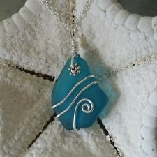 Handmade in Hawaii Wire wrapped teal sea glass necklace jewelry Mother's Day