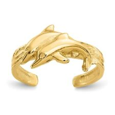 Adjustable Toe Ring 1.65 gr 14k Yellow Gold Solid Twin Dolphins