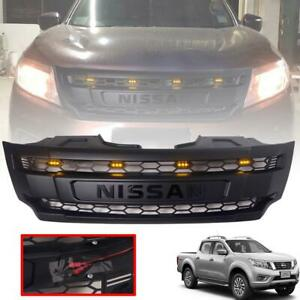 For Nissan Navara NP300 D23 2014-2018 Front Grille Grill 4 Orange LED Black Logo