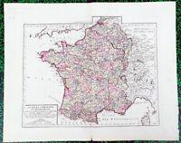 XVIII ème - La France Comparative - Belle Carte 54x43 par E Mentelle de 1797/98