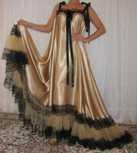 VTG Lingerie Silky Satin FULL Sweep Negligee Slip Babydoll Long Nightgown M-6X