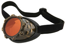Steampunk Cyber Steam Eye Patch Copper Brushed Finish Mono Goggle W/ Mirror Lens