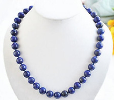 "Natural 10mm Blue Lapis Lazuli Round Beads Gemstone Necklace 18"" AAA"