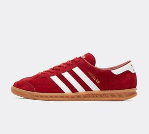 adidas Mens Originals Hamburg Suede Shoes Trainers in Red and White