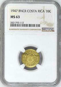 Costa Rica: 10 Centimos 1947 BNCR, NGC MS-63, KM# 180 Brass
