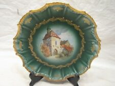 EARLY DECORATIVE PLATE GREEN/GOLD EMPIRE CHINA DUTCH WINDMILL VILLAGE