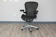 "Herman Miller Aeron Chair in Size ""C"" in Carbon Pellicle Classic on Titanium"