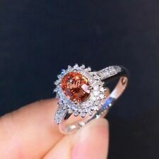 2Ct Oval Padparadscha Sapphire Simulant Diamond Engagement Ring Silver Gold Fnsh