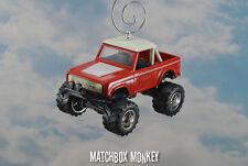 Custom Cherry Red '73 Full Size Ford Bronco 4x4 Truck Christmas Ornament 1/64