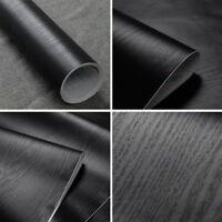 Black Wood Grain Wall Paper Self-adhesive Home Furniture Floor Wall Sticker