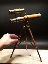 Vintage Antique Style Solid Brass Telescope & Brass Tripod