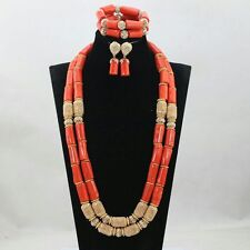 Traditional Real Coral 2 layer African Nigerian Beads Party Wedding Jewelry set
