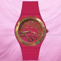 NWT BETSEY JOHNSON Pink Silicone Band Gold Accent Watch BJ00637-04 Needs Battery