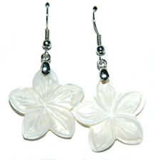 MOTHER OF PEARL SHELL FLOWER DANGLE EARRINGS (D300)