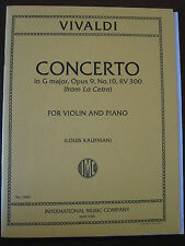 VIVALDI Concerto in G major, Opus 9 No.10 RV300 for Violin & Piano pub. IMC3400