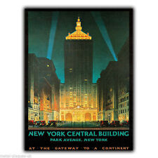 Metal sign wall plaque new york central building rétro vintage poster art print