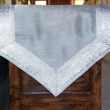 SILVER TABLE RUNNER BROCADE BORDER 72X13 Inches, Slightly Imperfect, Save $11