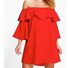 dd18003b6841 Womens red bardot frill off the shoulder dress size 8