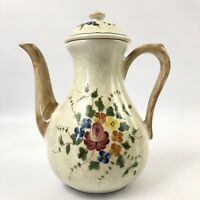 Tall Longchamp Nemours Hand Painted Floral Tea Coffee Pot Made in France