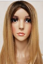 Human Hair Blend Wig Lace Front Ombré Blonde, Real Hair, Dark Roots