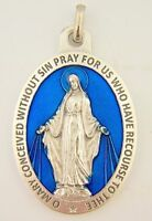 Silver Toned Base Blue Enamel Blessed Saint Mary Miraculous Medal, 1 3/4 Inch