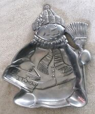 "Lenox Pewter Snowman Candy Dish ""Let It Snow"""