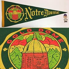 1960's Vintage University Notre Dame Fighting Irish Indiana ND 11.5x29.5 Pennant